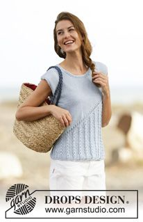 "Light Breeze - Knitted DROPS top with lace pattern and diagonal line in ""Paris"". Size: S - XXXL. - Free pattern by DROPS Design"