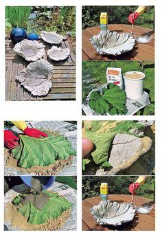 Adorno de jardín moldeado en cemento con hojas naturales