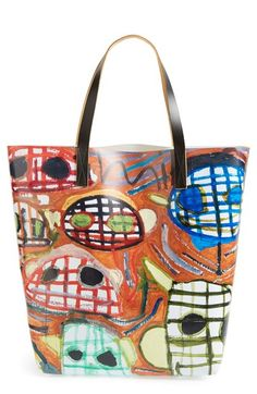 Marni Printed Face Shopper Tote available at Shopper Tote, Tote Bag, Printed Bags, Marni, Vivid Colors, Couture, Royal Blue, Purses And Bags, Artsy