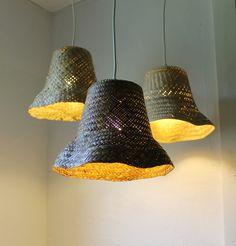 Basket Case - upcycled wicker basket hanging pendant lighting fixture - repurposed woven rattan planter lamp