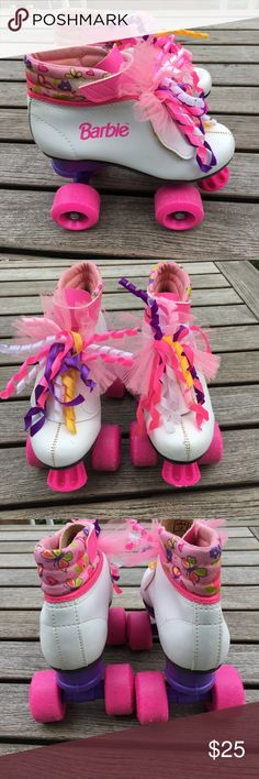 Girls Barbie roller derby skates Great condition! Some wear on the wheels, as to be expected. A few small marks on the fabric and velcro. Barbie Shoes