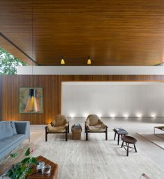 Absolutely amazing L House in Sao Paulo with the Magnum 4202 pendant and Secto 4220 table lamps, designed by architect Marcio Kogan of MK27 Studio.
