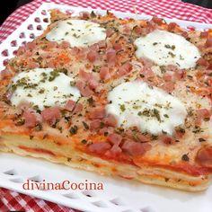 pastel de pan de molde estilo pizza - See Tutorial and Ideas Nutella Brownies, Pasta Recipes, Cooking Recipes, Healthy Recipes, Quiches, Stromboli Recipe, Snacking, Pizza Style, Tapas