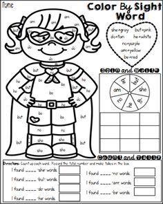 FREEBIE! Winter color by sight word. … | Pinterest