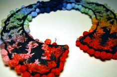 """I would like to call this """"The Silent Protest Against Fifty Shades of Grey Collar Necklace"""", because of the colour explosion, but that would insinuate that I have actually read parts of… Diy Necklace, Collar Necklace, Necklaces, Diy Tutorial, Fun Crafts, Crochet Earrings, Rainbow, Handmade, Couture"""