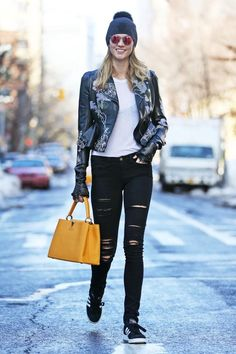 Karlie Kloss wearing Adidas Campus Sneakers, Frame Denim Le Color Jeans in Film Noir, Ray-Ban Rb4224 Round Light Ray Sunglasses, Louis Vuitton Capucines MM Tote, Alexander McQueen Embroidered Leather Moto Jacket, Carolyn Rowan Skull Embellished Beanie and Carolyn Rowan Embellished Leather Gloves