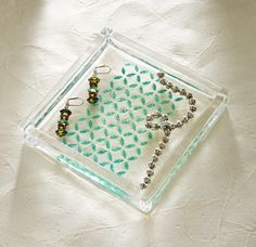 How to decorate a clear glass tray with new Mod Podge Rocks stencils and glitter