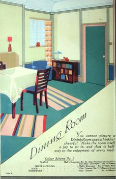 Home Decoration, 1930.    Great Art Deco graphics in this paint company catalog. From the Association for Preservation Technology (APT) - Building Technology Heritage Library, an online archive of period architectural trade catalogs. It contains thousands of catalogs. Select your material  and become an architectural time traveler as you flip through the pages. This catalog comes from the collection of the Canadian Centre for Architecture.