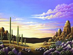 Red Rocks #11 by Andy Russell ~ desert ~ twilight ~ cactus