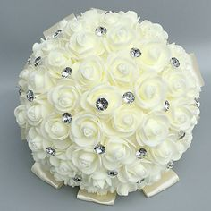 "Wedding Flowers Bouquets Wedding Rhinestone / Foam 11.02""(Approx.28cm) 2020 - US $9.99 Flower Bouquet Wedding, Rose Bouquet, Bride Accessories, Rhinestone Wedding, Bridal, Baby, Bouquet Of Roses, Baby Humor, Infant"