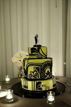 Art Deco Green & Black Wedding Cake