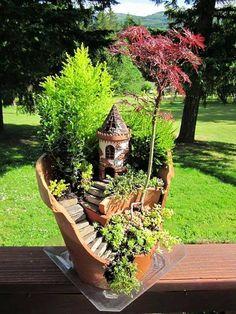 Mini ogródek z wieżą