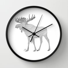 Elk Theraphy Wall Clock by Helena Areman | Society6 Moose, Elk, Interior, Style, Animal, Germany, Sweden