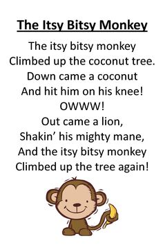 Cute Itsy Bitsy Monkey Rhyme for Preschool Circle Time. Preschool Jungle, Preschool Music, Preschool Classroom, Preschool Activities, Montessori Elementary, Toddler Preschool, Goodbye Songs For Preschool, Elementary Teaching, Songs For Toddlers