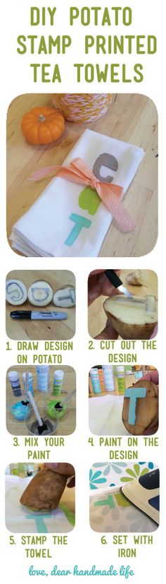 use a potato to carve a stamp. Potato Stamp, Potato Print, Mothers Day Crafts, Crafts For Kids, Diy Crafts, First Grade Crafts, Craft Projects, Sewing Projects, Towel Crafts