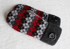 mittens wool mittens sweater mittens red black by miraclemittens, $38.00