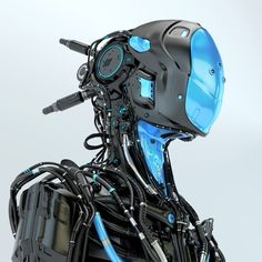 Black robotic soldier pilot with blue elements Android Art, Android Design, Wallpapers Android, Android Hacks, Futuristic Armour, Futuristic Robot, Futuristic Technology, Humanoid Robot, Arte Robot