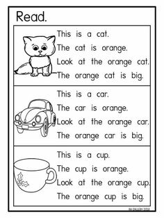 I like this activity because it monitors understanding. Students color the pictures according to the description. There is also a lot of repetition that promotes literacy and comprehension. Phonics Reading, Reading Comprehension Worksheets, Teaching Phonics, Phonics Activities, Reading Passages, Teaching Reading, Learning English For Kids, English Lessons For Kids, Teaching English
