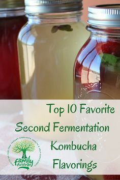 10 Best Kombucha Flavorings a how to carbonate your kombucha Our 10 favorite kombucha flavorings of fruit and herb for a second fermentation of kombucha. Easy directions on how to jar, flavor, and carbonate kombucha. Kombucha Fermentation, Best Kombucha, Kombucha Flavors, Kombucha Scoby, How To Brew Kombucha, Probiotic Drinks, Fermentation Recipes, Second Ferment Kombucha, Flavored Kombucha Recipe