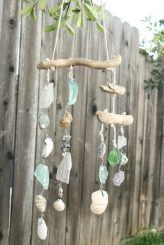 mobile wind chime shells ad sea glass and driftwood