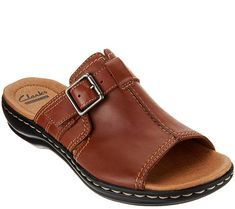 95f7908a0a3 Clarks Leather Slip-on Sandals with Buckle Detail - Leisa Gianna