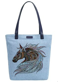 So Each Women S Horse Animal Denim Dye Handbag Tote Shoulder Per Bag Handbagshaven Has On Las Leather Bags And