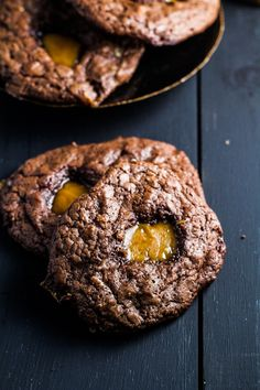 Chocolate-Toffee Cookies with Caramel Centers