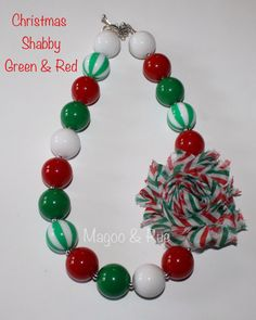 Shabby Flower Christmas Chunky Bead Necklace red and green holiday on Etsy, $16.00