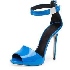 """Giuseppe Zanotti d'Orsay sandal in high-gloss patent leather. 4 3/4"""" covered heel. Peep toe reveals subtle platform. Ankle wrap with metal detail. Back zip for…"""