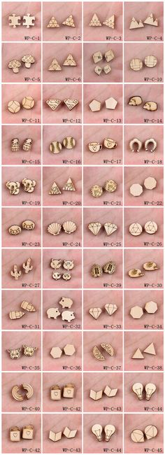 4Pcs All Design DIY Laser Cut Wood Cute Geometric Round Charms / Pendants (HPP-WP-C) Part 1