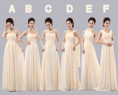 mismatched long bridesmaid dresses Champagne by wishuponwedding, $119.00