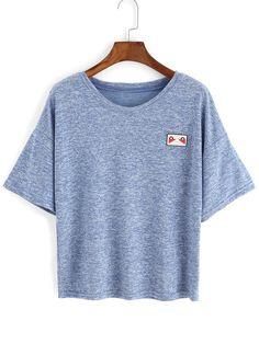 Shop Heather Blue Patch T-shirt online. SheIn offers Heather Blue Patch T-shirt & more to fit your fashionable needs.