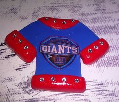 Polymer Clay Jersey Cabochon / Flat Backed -Pin / Brooch - Charm / Pendant- Blue and Red with 14 Swarovski Crystals NY Giants shield...$7.50 each