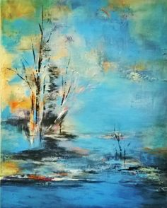 Impressionistic original 24x30 acrylic blue, serenity, abstract canvas art, bettypinkstonart, nature, landscape