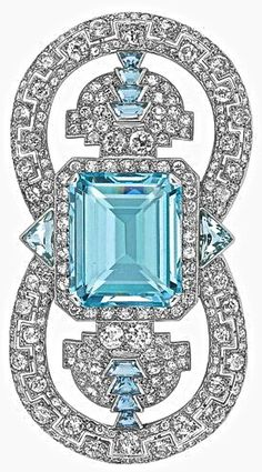 Cartier Art Deco Aquamarine Brooch