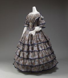 Dress - Dress Date: 1853–56 Culture: European Medium: wool, silk Dimensions: [no dimensions available] Credit Line: Gift of Lee Simonson, 1938