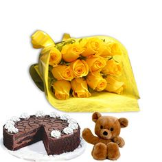 Roses with Cake and teddy