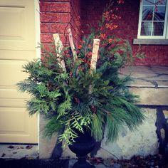 Winter urn arrangements by Prim Pickins