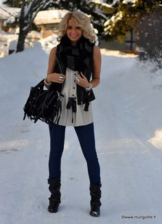 Love the black leather scarf with the cream chiffon top...not in the snow though