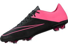 Nike Mercurial Vapor X FG Leather Soccer Cleats - Black and Pink