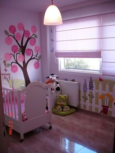flower style wall stencils baby girl room design