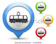 Map marker with icon of a tram, vector eps10 illustration