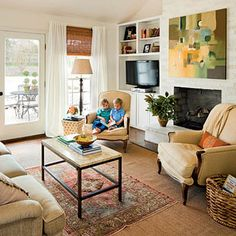 New Living Room Furniture Placement Layout Bookshelves 21 Ideas Living Tv, My Living Room, Home And Living, Living Room Decor, Living Area, White Painted Fireplace, Brick Fireplace, Painted Fireplaces, Fireplace Shelves