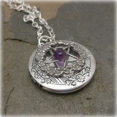 Amethyst  Rose pentacle spell locket by SpellboundOriginalz