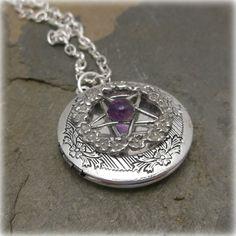 Amethyst  Rose pentacle spell locket by SpellboundOriginalz