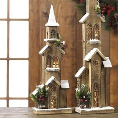 Lighted Indoor Christmas Decorations For Sale Raz 20 Lighted Wooden Rustic Church Christmas House 3617269 Wooden Christmas Crafts, Indoor Christmas Decorations, Christmas Tree Themes, Rustic Christmas, Christmas Projects, Christmas Home, Christmas Ornaments, Christmas Mantles, Silver Christmas