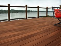Horizon decking in Tudor Brown and dark walnut Mission rail with clear ClearVisionSystem Outdoor Spaces, Outdoor Living, Outdoor Decor, Outdoor Stuff, Deck Design Tool, Porch Extension, Decking, Photo Galleries, Sweet Home