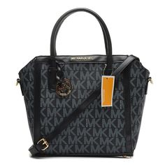 Michael Kors Miranda Logo Signature Medium Black Totes only $71.99