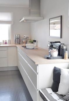 Kitchen white and wood . Exactly what i want
