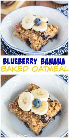 Fresh blueberries and bananas add a delicious fruit flavor this easy baked oatmeal. What's For Breakfast, Breakfast Snacks, Breakfast Dishes, Breakfast Recipes, Blueberry Recipes, Banana Recipes, Oatmeal Recipes, Delicious Fruit, Yummy Food
